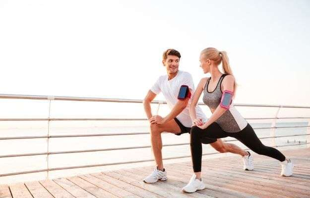 couple working out together outdoors
